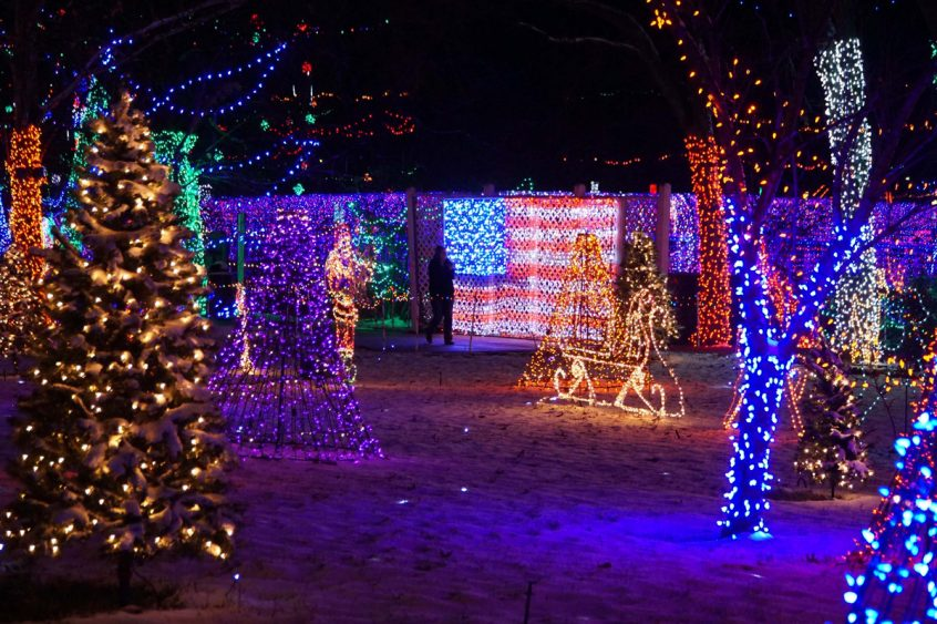 American Flag lit up for Rhema Christmas Lights Extravaganza